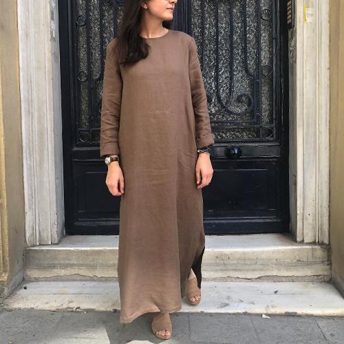 Kahverengi Keten Tunik Elbise