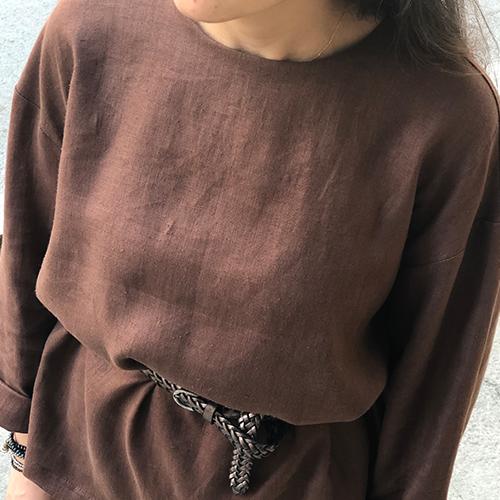 Kahverengi %100 Keten Etek Bluz Takım