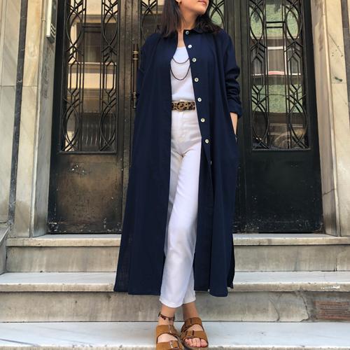 %100 Pamuk Cepli Gömlek Elbise&Tunik - Lacivert