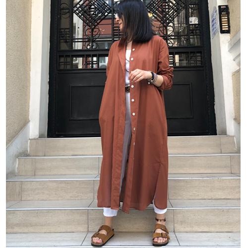Flam Keten Cepli Gömlek Elbise&Tunik - Tarçın
