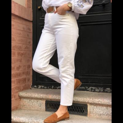 Beyaz Yüksek Bel Mom Jean