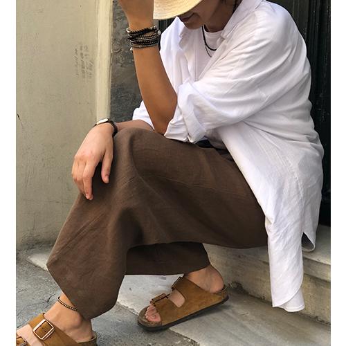 Kahverengi Cepli Yüksek Bel Bol Paça Pantolon