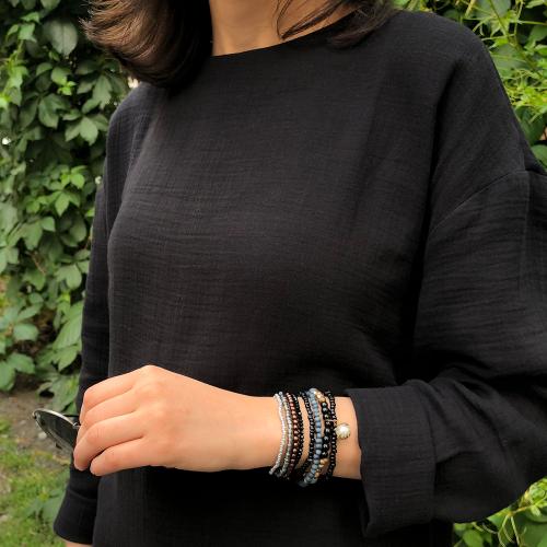 Siyah Müslin Kumaş Tunik Elbise