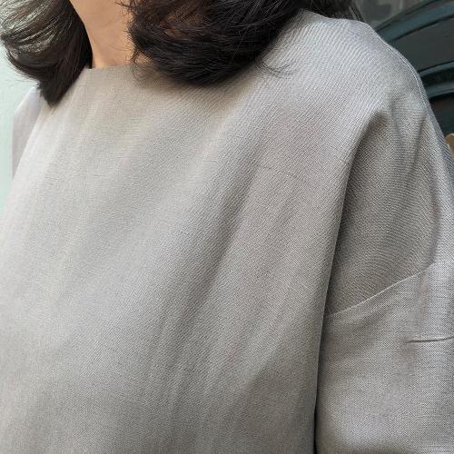 Koyu Vizon Keten Tunik Elbise