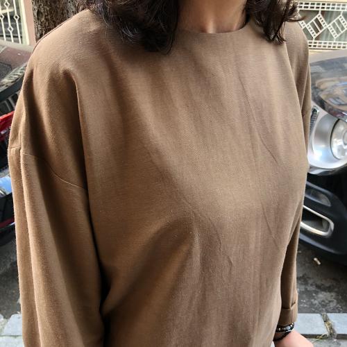 Açık Kahve Yırtmaçlı Tunik Elbise