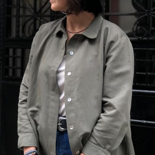 Pamuk Keten Cepli Gömlek Elbise&Tunik-Haki