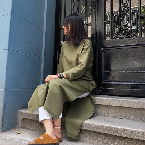Kına Yeşili Flam Keten Tunik Elbise