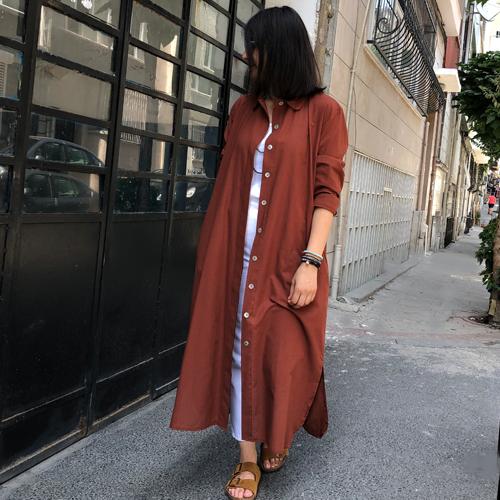 %100 Pamuk Cepli Gömlek Elbise&Tunik - Koyu Tarçın