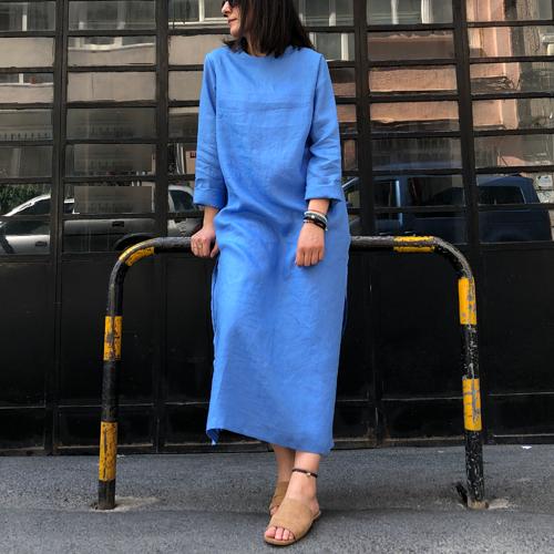 Gök Mavisi Keten Tunik Elbise