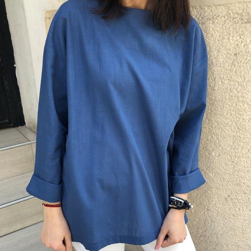 %100 Pamuk İndigo Salaş Basic Bluz