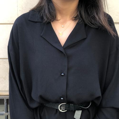 Siyah Ceket Yaka Pamuk Viskon Bluz
