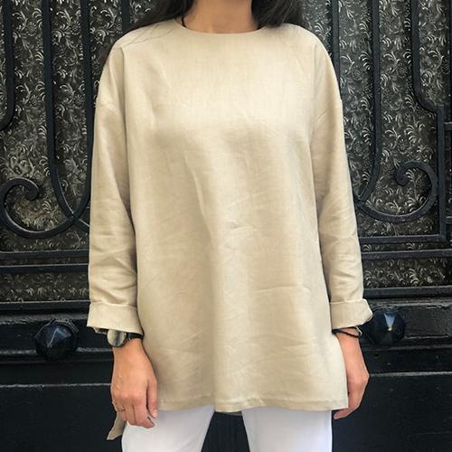 Taş Rengi Keten Salaş Basic Bluz