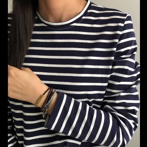 Lacivert Beyaz Çizgili Penye Bluz