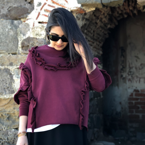 Bordo Fırfırlı Sweatshirt