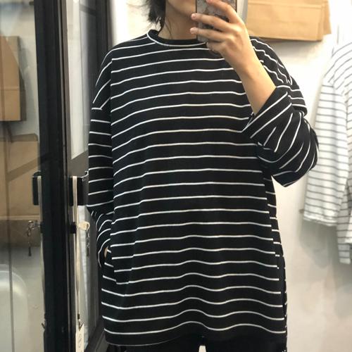 Siyah Beyaz Çizgili Salaş Basic Bluz